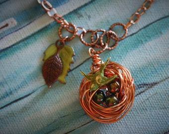 Copper Bird's Nest Pendant Necklace With Three Beads