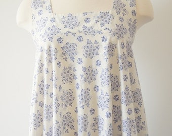 Vintage White Laura Ashley Maxi Peasant Dress with Blue Flowers Made in Wales
