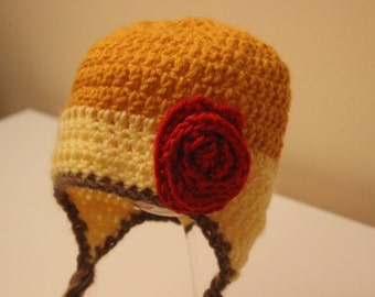 Crochet Belle Hat. size 3-6 months READY TO SHIP!!!