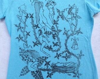 Fetish Pin Up Tee Shirt- Nudes Tee Shirt Art  Deco Tee Shirt- Art Nouveau Tee Shirt- Sex Girls Tee Shirt-Hand Drawn Size Large