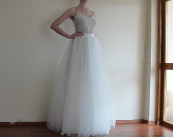 Tulle Maxi skirt,Full Length,Floor length Bride Skirt,Extra Full Ivory Wedding Tulle Skirt,Tutu, Bridesmaid dress,İvory Long Tulle skirt.