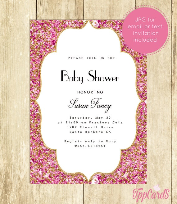 Pink and Gold Baby Shower Invitation Hot Glitter Confetti Royal