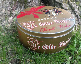 Fruit cake tin vintage, Grennan Old English Fruit Cake tin, vintage large tin