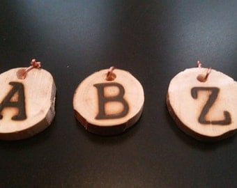 Pyrography Wood Burned Letter Necklace/Charms