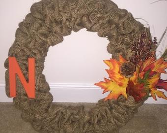 Burlap Wreath with Initial