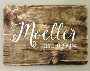 Personalized Pallet Wood Name Sign - Last Name and Couple's First Names