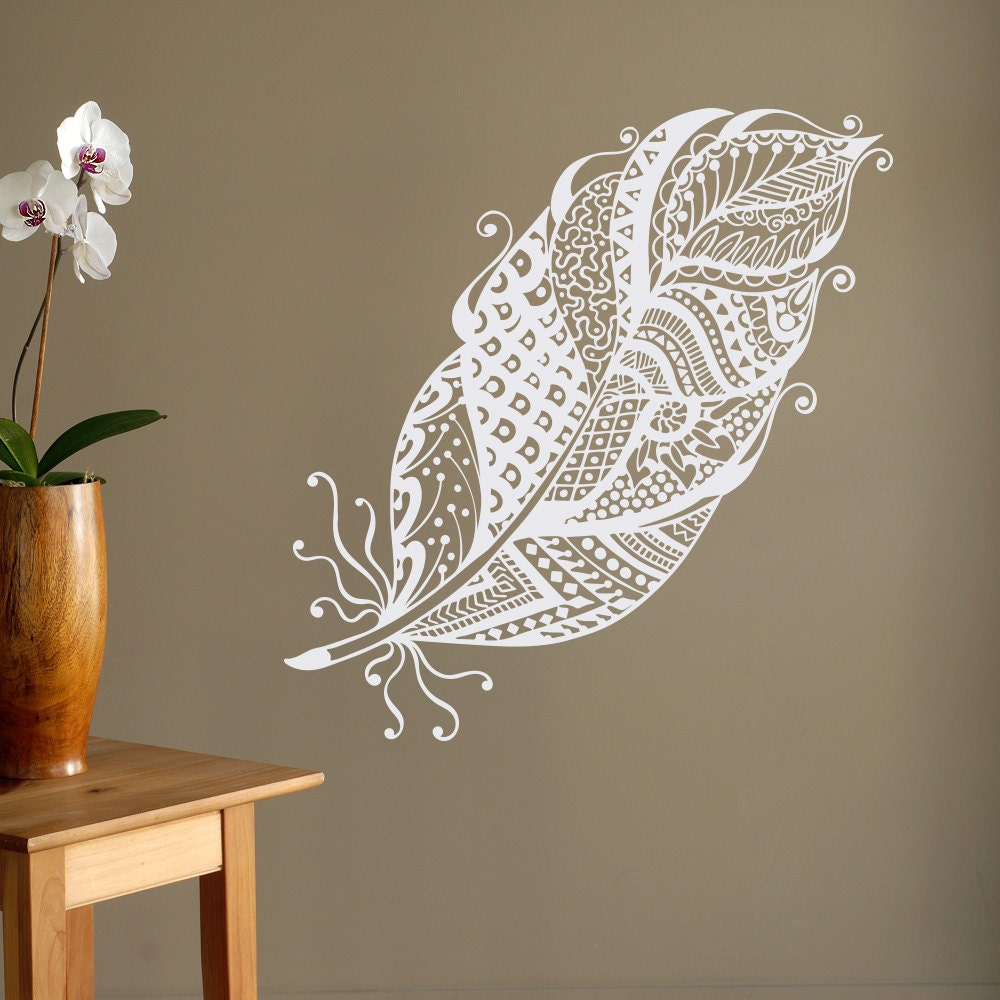 Wall Decorations Boho : Boho feathers wall decal feather decor bohemian bedroom