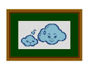 Mama Cloud and Baby Cloud Counted Cross Stitch Pattern. Pattern. PDF Instant Download. Cross Stitch Pattern Cloud