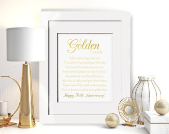 A Golden Couple - Real Gold Foil Print W/ OPTIONAL Frame, Framed 50th Anniversary Poem, Golden Anniversary Gift For Parents, Love Foil Print