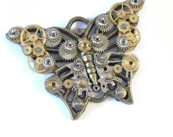 Steampunk butterfly, brooch, necklace, pendant