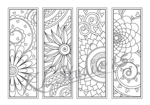 Happy Flower Coloring Bookmarks