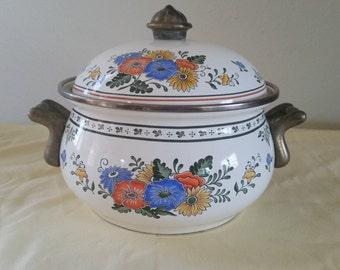Asta ware pot/brass and enamel pot/vintage pot/asta wear/floral pot