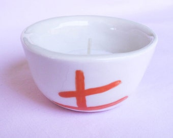 Tealight Candle Holder with Feng Shui Metal Symbol