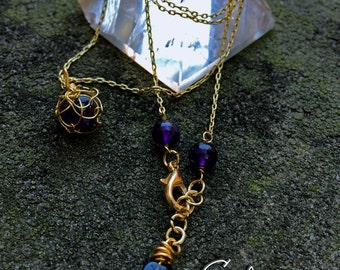 Petite Golden Wire Wrapped Amethyst Pendant, Eglantine Necklace