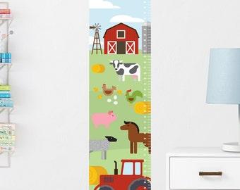 Farm Growth Chart Decal, Kids Growth Chart, Wall Growth Chart, Wall Height Chart, Growth Chart Sticker, Farm Wall Decal, Kids Height Chart