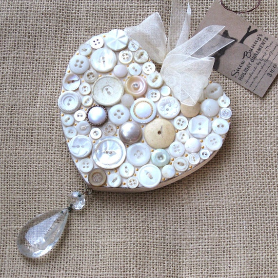Wood heart ornament hanging wooden white