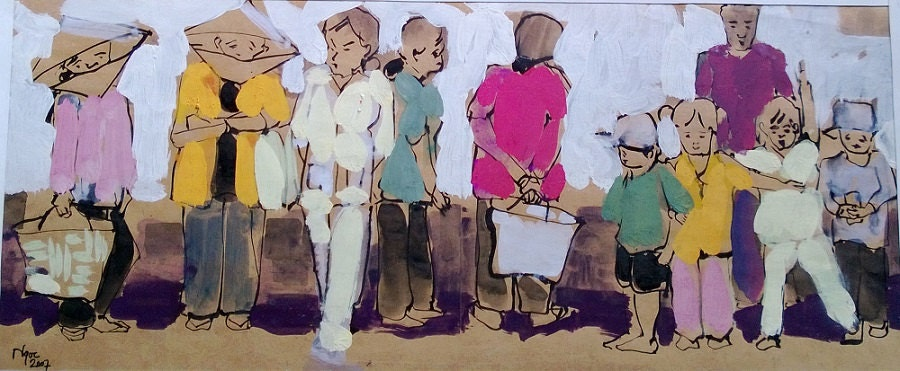 """CAN THO STREETS 18x7.5"""" gouache on paper, live painting, Cần Thơ Province, original by Nguyen Ly Phuong Ngoc"""