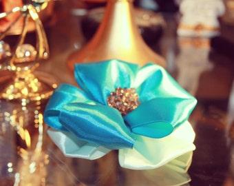 Blue Ribbon Brooch/ Handmade Blue Brooch/Brooch/ Blue Flower Brooch/ BLUE Flower/ Wedding boutonniere/Costume Jewellery/Blue Satin Ribbon/