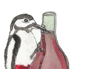 Great-Spotted Woodpecker Wine-pecker