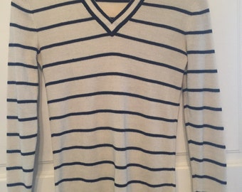 Vintage ladies' black and white striped sweater