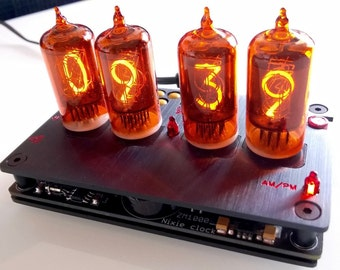 Nixie tube digital clock, black anodized aluminum case, amber red ZM1000R tubes, black PCB