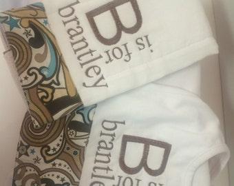 Custom Baby Burp Cloth and Bib with Name Combo