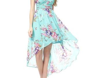 Strapless Floral Printed Hi-Lo Summer Dress