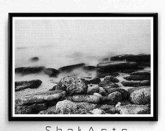 black and white stones print, stones photos, Beach photograph, Black and white photo, Black and white decal , beach photo, home decor, Libya