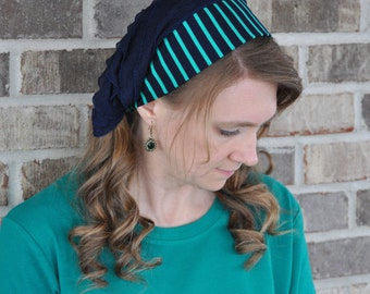 Women's Navy Green Stripe Headcovering, head scarf, Mitpachat, head covering, hair scarf, headscarf, bandana, headband half head tichel veil
