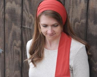 Women's Burnt Orange Stretch Hair Wrap, head scarf, headband, hair scarf, headscarf, head band, hairscarf, hair tie, bandana, head covering