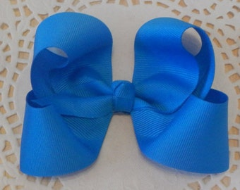 Blue Boutique Bow, Blue Hair Bow, Girls Bow, Baby Bow, Boutique Bow, Hair Accessories