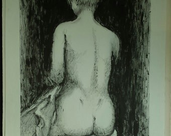 """Lithograph """"Nude girl sitting back"""" by Robert Feqiakidip 1991"""