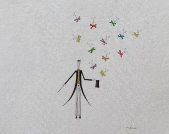 Magician with butterflies. Original watercolor. mujerlaberinto. Manu.