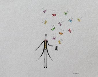 Magician with butterflies. Original watercolor. mujerlaberinto. Manu.