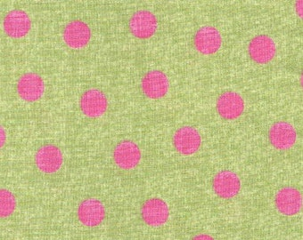 Polka Dots - BTY - Elephant Parade - - Studio e - Pink Polkadots on Green