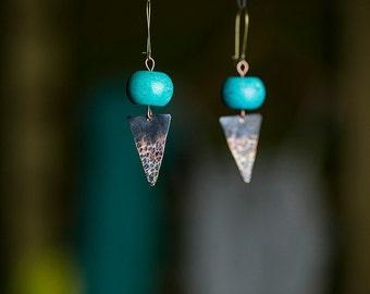 Tribal earrings African earrings Triangle earrings Turquoise jewelry Turquoise earrings Two toned Hammered Statement earrings Bohemian Gift