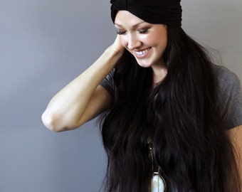 Soft Black Stretch Knit Turban Beanie
