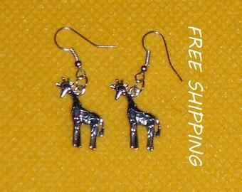 metal giraffes dangle earrings