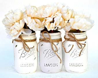 White Gray Jars, Painted Mason Jars, Mason Jar Decor, Mason Jar Vase, Jar Centerpiece, Chic Jar Centerpiece, Boho Jar Decor, Spring Jars