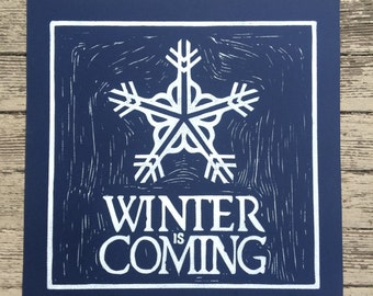 Rochester Snowflake Logo Winter is Coming - Original Linocut Print