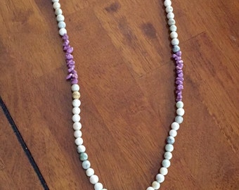 Off white and purple necklace