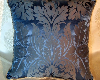 Decorative Pillow from Emperor's Collection-Royal  Blue Damascus