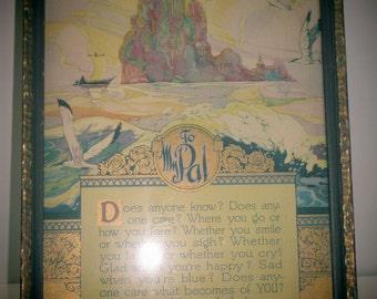 TO MY PAL 1924 J.P. McEvoy Framed Poetry