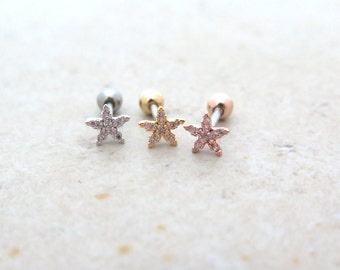 Star Flower Piercing/Tragus Earring/Cartilage earring/Piercing / Tragus piercing/Cartilage piercing/Rook Conch Snug piercing/Helix Conch