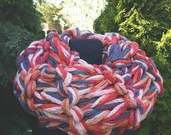 Chunky colorful handmade knitted snood or shoulders warmer