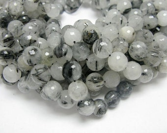 10mm Round Faceted Natural Color Black Rutilated Quartz Beads