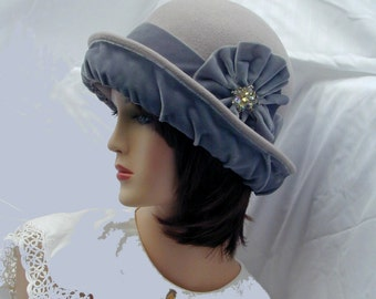 Convertible 4-way handmade gray wool and velvet bowler cloche - Miss Fisher, Downton Abbey, Gatsby hat