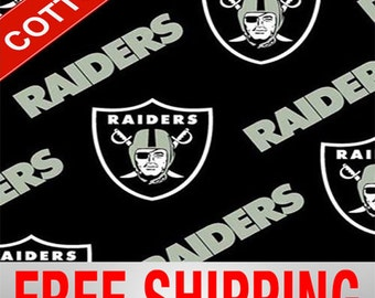 "Oakland Raiders NFL Cotton Fabric. Style OAK-3513 60"" Wide. Free Shipping."