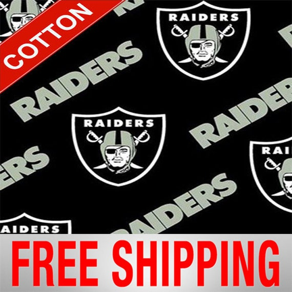 Oakland raiders cotton fabric nfl style oak 3513 60 wide for Outboard motor shop oakland