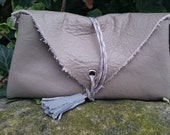 Handmade Grey Leather Panelled Tassel Boho ChicFestivalVintage Style Small Clutch Bag Made From 100 Recycled Materials